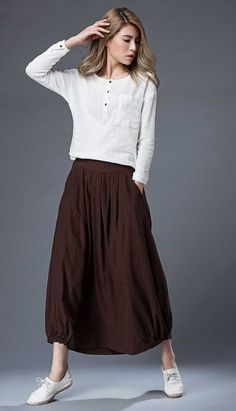 Brown Casual Skirt  Linen Everyday Modern Comfortable by YL1dress