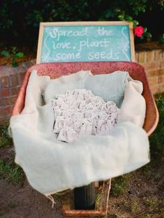 "Let guests ""spread the love, plant some seeds"" with these adorable party favors. #countrywedding #rusticweddingdecor http://www.gactv.com/gac/photos/article/0,,GAC_42725_6075192.html?soc=pinterest"