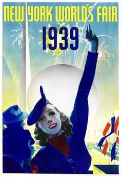 This vertical American theater and exhibition poster features a woman raising her hand in the air with fireworks and flag behind her. The beautiful Vintage Poster Reproduction is perfect for an office or living room. New York World's Fair 1939 America/USA