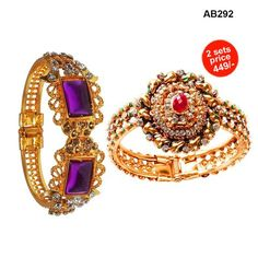 COMBOS-Pack of 2 Alloy Gold Plated Kadas - ab292