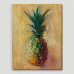 """Utilizing a rich color palette, Allyson Krowitz' painting titled """"Pineapple V"""" is a stunning still life full of tropical allure. Printed using state-of-the-art technology, this remarkable gallery-wrapped reproduction resembles an original work of art, as if commissioned just for you. Framed and ready to hang, it's an effortless and affordable way to update a room."""