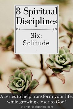 8 Spiritual Disciplines: Six-Solitude Why We Need to Seek Solitude: Jesus shows us in the New Testament how beneficial seeking solitude can be. Jesus often withdrew to solitary places to pray, ask for God's guidance, prepare, and rest. He encouraged the disciples to do the same. It's important that we include the spiritual discipline of solitude in our own lives as well. #lettinghislightshine #spiritualdisciplines #reflectandconnect #solitude #transformingandgrowing
