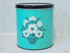 1950s Turquoise Decoware Kitchen Canister - Vintage Decoware - Turquoise Blue Kitchen Storage
