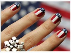 Red, white, and blue nails for patriotic holidays and other days.