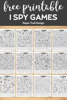 12+ I Spy Game Printables. Fun I Spy activity free printables for a rainy day, road trip, classroom party activity for kids. #papertraildesign #Ispy #Ispygames #Ispyprintables #Ispyactivity #classroomparty #classroomcelebration