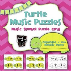 Turtle Music Puzzles: Music Symbol Puzzle Cards for Elementary Students