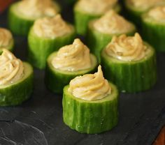 we can do gluten-free hors d'oeuvres: hummus piped into cucumber bites.