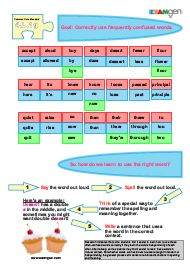 Free worksheet on frequently confused words - Common Core Standard 4.L1.g