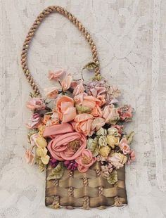 Vintage Pastel French Floral Silk Ribbon Basket Wall Hanging Fabulous Fabulous Fabulous on Etsy, $165.00