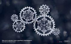 「雪の結晶」を「機械の歯車」にしたアウディの精巧なプリント広告 | AdGang