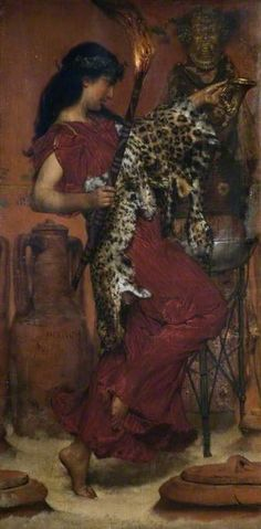 Autumn Vintage Festival  by Lawrence Alma-Tadema  Date painted: 1877  Oil on canvas, 75.3 x 38.1cm  Collection: Birmingham Muse...