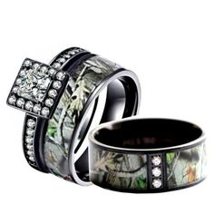 camo wedding ring set for him and her stainless steel silver black ip rhodium plating camo wedding rings wedding and stainless steel - Camo Wedding Ring Set