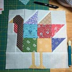 Turkey block by Lori Holt...PDF pattern called GOBBLE GOBBLE is available @fatquartershop