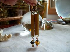 Mismatched Indian Glass Bead Bamboo Dangle Drop by CherokeeDancing