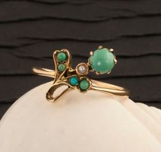 Antique Victorian Turquoise And Pearl Ring