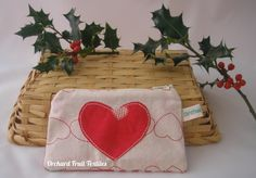 Christmas zipped coin purse - applique heart by OrchardFruitTextiles on Etsy
