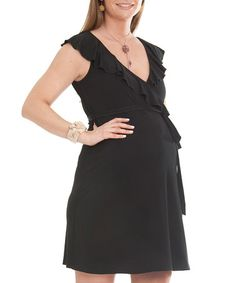 Take a look at this Black Scarlet Maternity Wrap Dress - Women by Debbi O. Maternity on #zulily today!