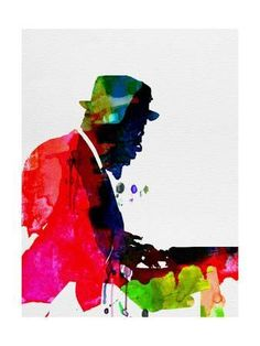 Thelonious Monk Poster Print, Thelonious Playing Piano Watercolor Art By Lora Feldman Inches x 24 Inches), Thelonious Monk Watercolor Poster Print, Thelonious Monk Posters/Wall Art, Thelonious Monk Merchandise Jazz Poster, Jazz Art, Canvas Prints, Art Prints, Illustrations And Posters, Vintage Illustrations, People Art, Signs, Watercolor Print