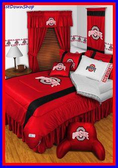 Ohio State OSU Buckeyes NCAA 11pc Sidelines Queen Comforter/Sheets Deluxe Bed Room Set