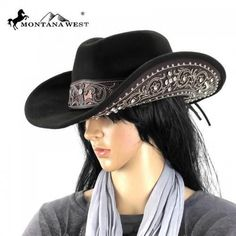 Code  FMCHT-9034CF These MontanaWest cowgirl hat design have -Color  available BLACK fdb8c83f150f