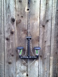 Solar Powered Hammered Black Outdoor Pipe Chandelier Pendant Lighting with Glass Crystals