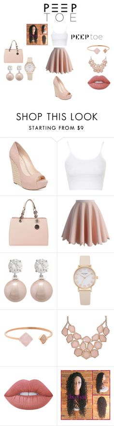 """""""Peep Toe"""" by arie-boi on Polyvore featuring Jessica Simpson, Topshop, MICHAEL Michael Kors, Chicwish, Michael Kors and Lime Crime"""