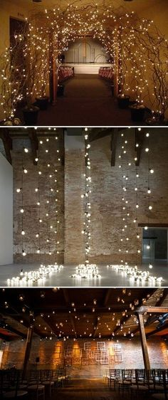 RECEPTION: Top picture. Use small battery-powered fairy lights to light up branches sank into pots, dotted around the reception.