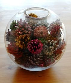 Painted pine cone centerpiece