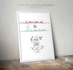 Affiche Love Couple Prénoms [à personnaliser]