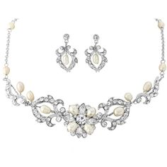 Starlet glam crystal and pearl wedding necklace and earring set