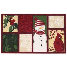 Nourison Essential Elements Snowman/Cardinal Multicolor Accent Rug