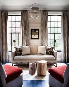 ikat pillows, patterned curtains, natural elements, neutrals