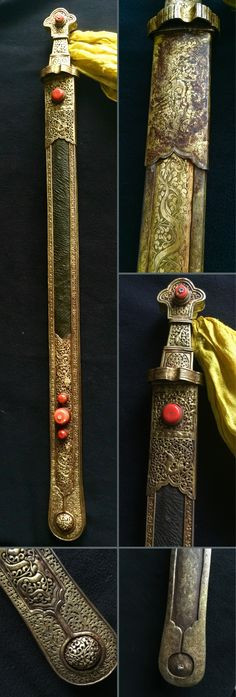 A long Tibetan sword. Gilded iron, pierced and chased, yak leather, with silk tassel and red glass beads. 17th-19th c. Private collection