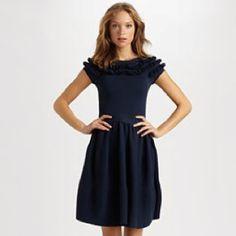 Valentino red navy knit ruffle dress