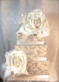 Nude Lace Wedding Card Box Wedding Card Holder by WrapsodyandInk, $132.00   Minus the gody flowers!