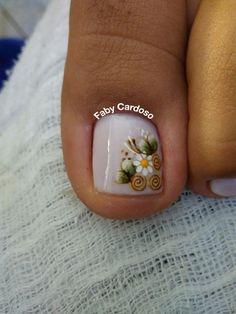 Pedicure Designs, Pedicure Nail Art, Toe Nail Designs, Toe Nail Art, Pretty Toes, Pretty Nails, Karma Nails, White Toenails, Cute Toe Nails