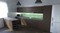 own business, idea about kitchen size and stuff inside, 3ds max