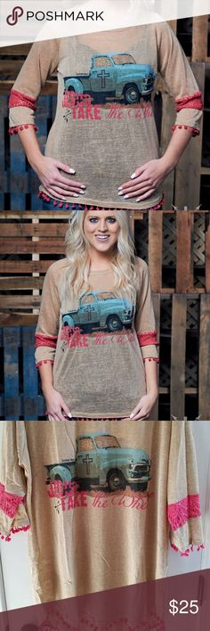 Southern Grace Jesus Take the Wheel Southern Grace --This graphic raglan is a cotton-poly-spandex blend designed to fit into your everyday wardrobe. Try styling it with a pair of your favorite boots. (3/4 sleeve and this top will need to have an undershirt worn) Southern Grace Tops Tees - Long Sleeve