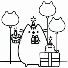 pusheen the cat party coloring pages printable and coloring book to print for free. Find more coloring pages online for kids and adults of pusheen the cat party coloring pages to print. Pusheen Coloring Pages, Unicorn Coloring Pages, Cat Coloring Page, Coloring Pages For Girls, Cartoon Coloring Pages, Coloring Pages To Print, Coloring Book Pages, Printable Coloring Pages, Birthday Coloring Pages