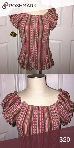 Belissimo Blouse sz Large Pink Green Yellow    Multi Color Tops Blouses
