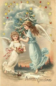 Divided Back Postcard A Merry Christmas Angels Christmas Tree Star, Christmas Fabric, Christmas Angels, Christmas Art, Christmas Holidays, Old Time Christmas, Vintage Christmas Images, Victorian Christmas, Retro Christmas