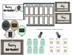 Perfect birthday addition to for your farmhouse, rustic, or vintage classroom.This item is editable as in you can add a text box and type in your information in the designated spaces/places. Included is the following:*Birthday Balloons *Birthday postcard *Happy Birthday Label/poster*Monthly Headers*Mason Jars to type in student names -2 options to choose from!*Teacher Binder Page or could be blown up and used as a poster display