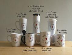 CUSTOM ORDER MUGS / Custom Design / Latte Mug / Travel Mug / Mug with Spoon / Coffee Mug / Sublimation Printing / Stocking Stuffer