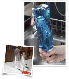 Make a Jellyfish in a bottle using a plastic water bottle, plastic bag, food coloring, and water.  Looks really cool.