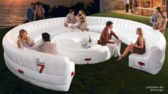 The AirLounge inflatable lounge is your huge spacious party lounge that can seat up to 30 people (!), even with a table. Cool place to talk with your friends and partners over coffee/wine. An AC outlet V) is needed to inflate the giant lounge. Lounge Furniture, Design Furniture, Camping Furniture, Camping Chair, Outdoor Furniture, Structures Gonflables, Inflatable Furniture, Lounge Party, Bouncy Castle