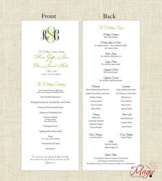 Printable DIY Wedding Programs  Simple But by LittleMagicCard