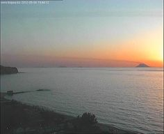 view of Stromboli at sunset from Tropea