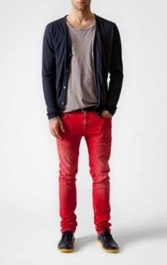 still on the fence about red jeans