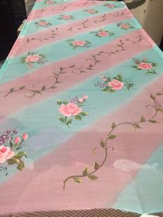 9815432341 Fabric Painting On Clothes, Dress Painting, Painted Clothes, Silk Painting, Saree Painting Designs, Fabric Paint Designs, Basic Painting, Block Painting, Hand Painted Dress