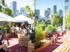 Urban Coffee Farm and Brew Bar by HASSELL, Melbourne   Australia pallet installation exhibition cafe bar